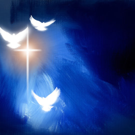Conceptual graphic digital illustration of the cross of Jesus Christ and three spiritual doves set against textured blue oil painted background.
